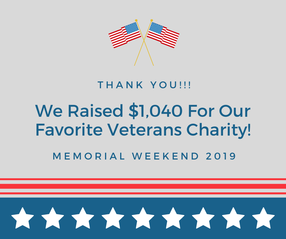 Memorial Weekend Fundraiser Was A Success - Over $1000 Raised