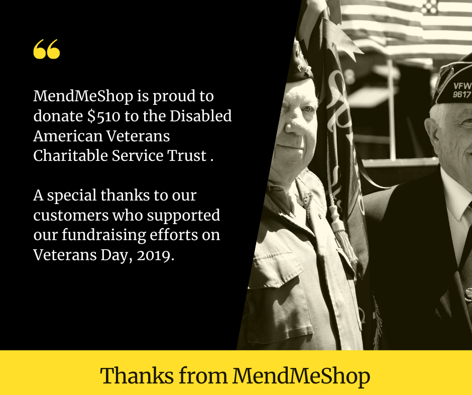 Thank You For Helping MendMeShop Raise $510 For A Very Worthy Veterans Group